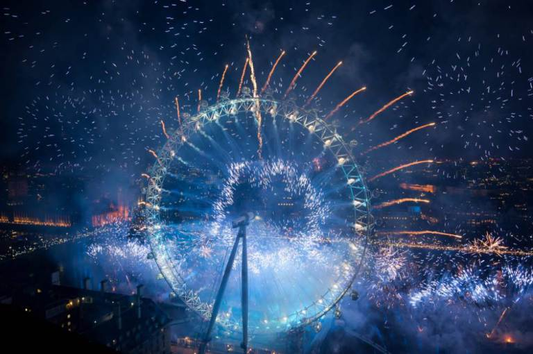 London New Year's Fireworks with the London Eye and the Houses of Parliament. Featuring: View Where: London, United Kingdom When: 31 Dec 2015 Credit: Daniel Deme/WENN.com