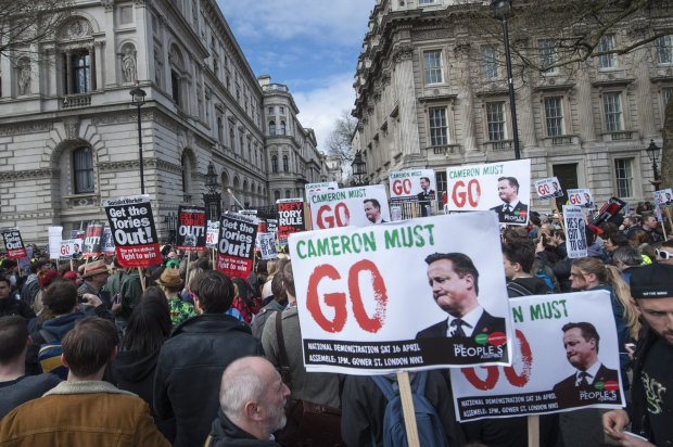 Whitehall, London, UK. 9th April, 2016. Hundreds of protesters gather outside Downing Street in London to demonstrate against British Prime Minister David Cameron's involvement in oversees tax havens brought to the public's attention by the release of the recent Panama Papers scandal. Pictured: // Lee Thomas, Flat 47a Park East Building, Bow Quarter, London, E3 2UT. Tel. 07784142973. Email: leepthomas@gmail.com. www.leept.co.uk (0000635435)