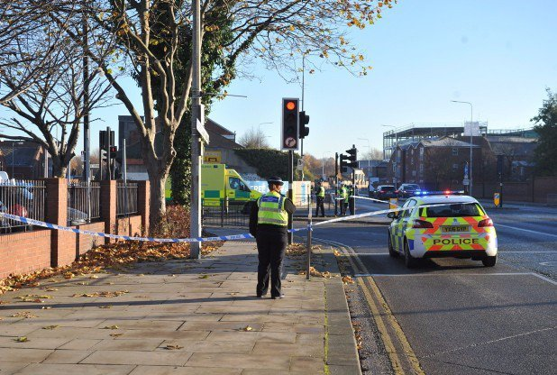 Police at the scene in Hull where a A 31-year-old man allegedly wielding a ëdouble-ended axeí in a city centre was shot by police today. See Ross Parry story RPYAXE; Armed officers were sent to the scene near a Post Office in Hull, East Yorkshire, shortly after 9.20am following ëconcerns for the safety of the publicí. Witnesses told of a huge police presence in the Charles Street area of the city this morning, with several roads cordoned off and firefighters also at the scene.