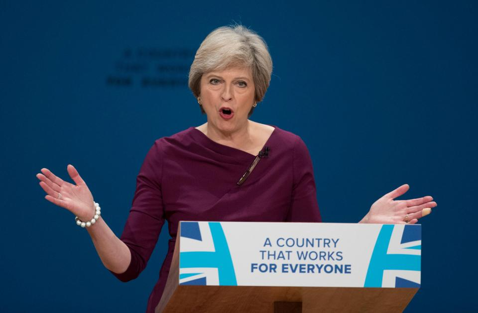 Alamy Live News. H35B5M Birmingham. 5th Oct, 2016. British Prime Minister Theresa May delivers a speech on the final day of the Conservative Party Conference in Birmingham, Britain, on Oct. 5, 2016. British Prime Minister Theresa May closed the Conservative's annual conference in Birmingham Wednesday, saying her party is to occupy the center ground in politics. ¿ Xinhua/Alamy Live News This is an Alamy Live News image and may not be part of your current Alamy deal . If you are unsure, please contact our sales team to check.