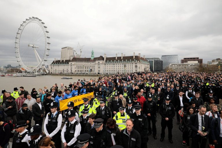 Hundreds of people take part in an act of remembrance for those who died and were injured in the Westminster bridge attack last week, March 29 2017. See National News story NNBRIDGE; The Ahmadiyya Muslim Youth Association (AMYA) will be taking part in a large remembrance gathering on Wednesday from 14:15 onwards at Westminster Bridge, London.  Hundreds of members of the AMYA, the UK's largest Muslim Youth organisation, will be holding banners carrying the slogans:  'Love for all, Hatred for none' and 'Muslims for humanity'. The participants will be wearing tee-shirts with ''I am a Muslim - Ask me anything' printed on them and will invite the general public to share their thoughts and concerns about Islam with the young Muslims. Imam Farhad Ahmad, a member of the AMYA said: ''By turning out in such large numbers, we Ahmadi Muslim hope to demonstrate the true, peaceful teachings of Islam and the commitment of British Muslims to peace and harmony.