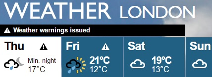 weather warning london